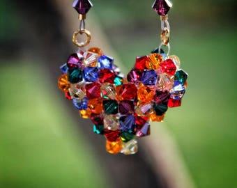 Rainbow Crystal Heart Necklace
