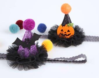 Halloween Baby heaband,Halloween Hair clips,Mini Witch Hat Headband, Hair clips,Witch Hat, ribbonnkids