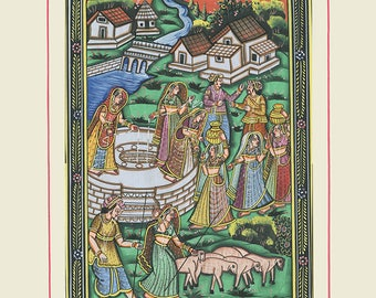 Lambs on Hill, Art of Rajasthan, Mixed Media