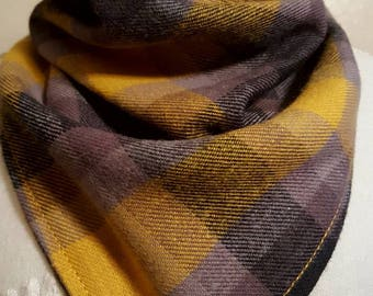 Yellow, grey and black plaid tie on bandana