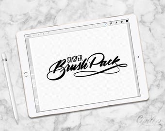 Procreate Brush Pack, 6 Brushes and Grid & Graph