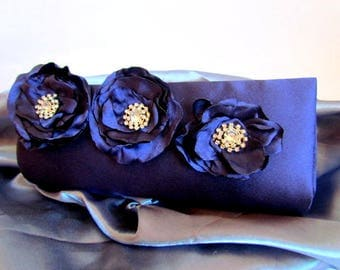 Indigo Blue Special Occasion Clutch, Purple Blue Bridesmaid Purse, Formal Evening Boutique Bag, Medium Cocktail Fashion Clutch, Prom Purse