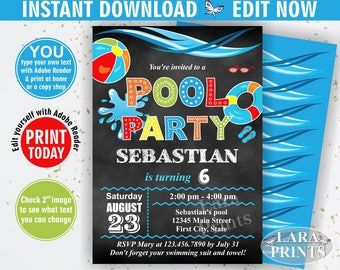 INSTANT DOWNLOAD / Birthday Invitation / Pool / Waterslide / Swimming / Summer Party Beach Invite Boy Blue red Chalkboard you edit now BDP2