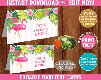 INSTANT DOWNLOAD / edit yourself now / Flamingo / Food tent cards / Pink Flamingo / Pool Party / Gold / luau / Hawaiian / Name / tags FTFL1