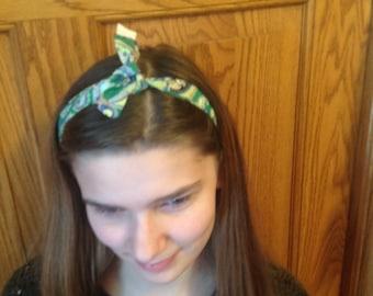 Green paisley headband, ladies headband, toddler headband, one sz fits all headband, baby headband, gifts for under twenty dollars