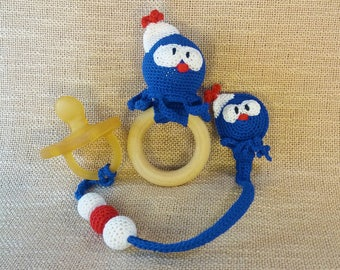 Octopus rattle toy and dummy clip set/crochet octopus toy/baby octopus toy/octopus baby rattle octopus/crocheted octopus/rattle octopus toy