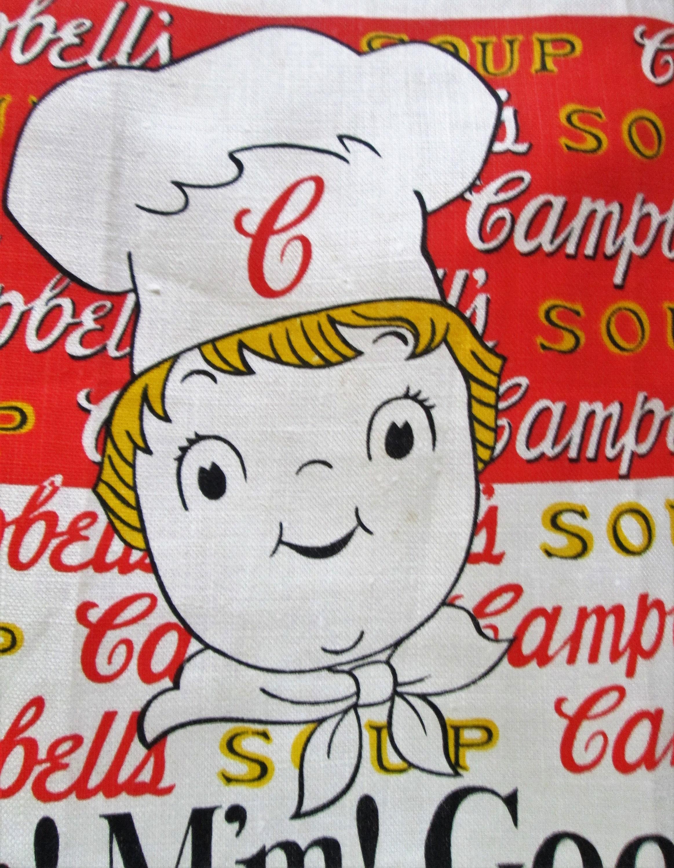 Vintage Rare Campbell\'s Soup Kid M\'m! M\'m! Good! Linen Tea or Dish ...