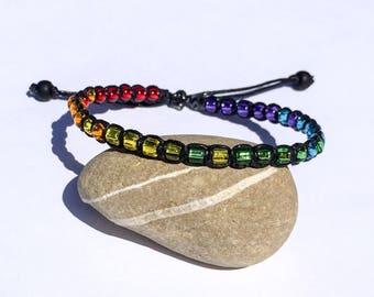PRIDE Adjustable Knotted Glass Bead Bracelet