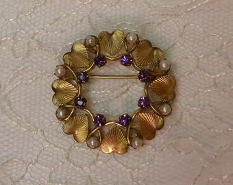 Vintage Heart Brooch/12K GF Amethyst & Pearl Heart Wreath brooch/Yellow gold filled/Karen Lynne 12K GF mid century Mother's Day