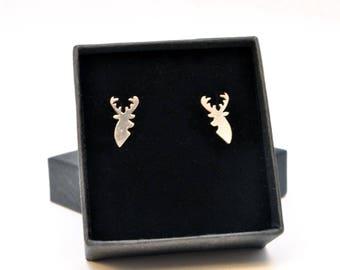 Sterling silver Stag stud earrings