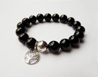 925 Sterling Silver Tree of Life 10mm Black Onyx Agate Bracelet, Matte or Glossy Finish, charm bracelet, elastic bracelet