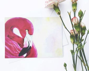 Flamingo stationary | flamingo thank you, flamingo post card, flamingo print, thank you cards, blank note card, stationary set, flamingo set