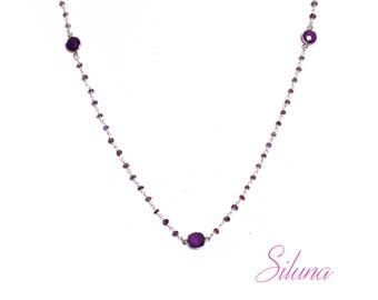 Amethyst necklace, 925 sterling silver Rosary