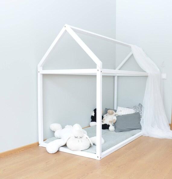 Toddler bed 60x120cm wood house bed frame wooden bed for Childrens bed frames