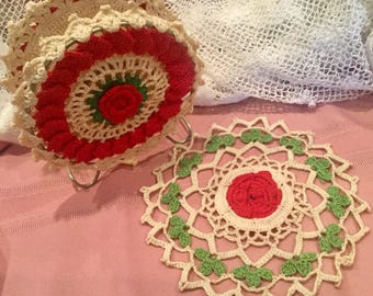 Crochet napkin holder and doily