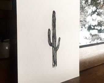 Original Saguaro Woodblock Print