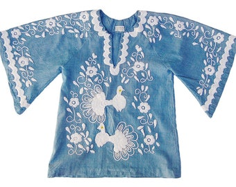 Vintage 1970s Peacock Tunic Top Chambray Angel Sleeve Caftan Top Small FREE SHIPPING