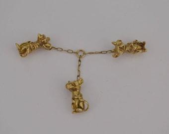 14k Yellow Gold Estate 3d Dangling Nursery Rhyme 3/three Blind Mice Charm