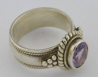 Sterling Silver 925 Estate Amethyst Ring Size 6.25