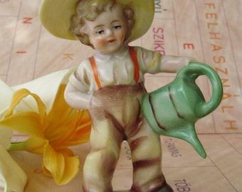Vintage, German Porcelain child figurine,little gardiner boy,handpainted