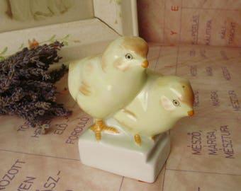 Vintage ,Hungarian Aquincum porcelain bird figurine,little chickens,stamped,handpainted