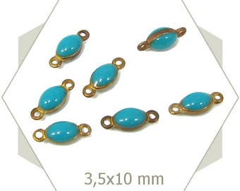 10 mini turquoise blue oval connectors, GE25