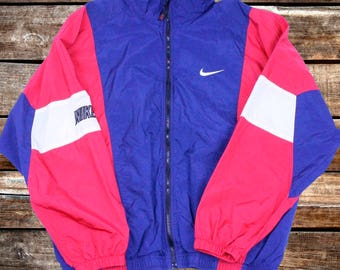 Vintage 90s Nike Windbreaker Blue, Red, and Black Light Jacket Size L For Fans of Vintage Nike Windbreakers, Vintage Jackets, or The 1990s