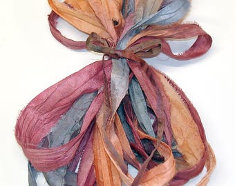5 & 10YD. ENCHANTED  Sari Silk Ribbon Bundle//Dyed Silk Sari Ribbon Bundle//Sari Tassels,Sari Wall Decor,Sari Fiber Jewelry,Sari Tapestry