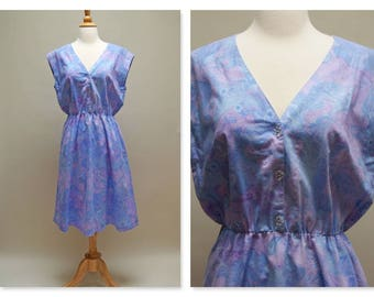 Vintage 80s Purple Summer Dress ⎮ 1980s Sleeveless Periwinkle Cotton Dress ⎮ Midi Jumper Purple Spring Dress