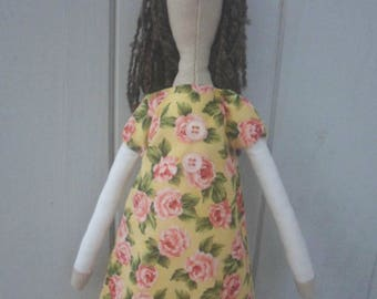 Doll tilda floral dress fabric and lace 40 cm