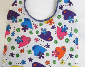Colorful Hearts and Flowers! 100% Cotton. Purple Backing. Baby Bib!