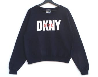 Rare!! DKNY Jeans Donna Karan New York Sweatshirt Pullover Jumper Blue Colour Medium Size
