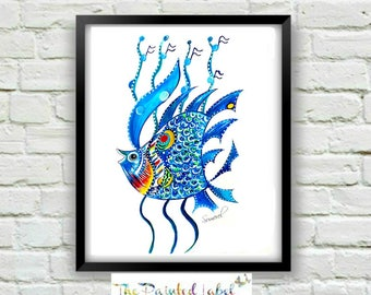 Fish Print, Kids Room Decor, Whimsical Art, Blue Painting, Nursery Room Art, Child's Art, Fish Wall Art, Fish Decor, Art for Kid's Room
