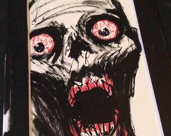 Zombie painting, undead, gory halloween, zombie, horror fan gift, horror fan, dark artwork, zombie art, zombie sticker, creepy, horror art