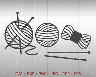 Knitting SVG, Yarn SVG, Needle svg Knitter Clipart DXF Silhouette Cricut Cut File Vector Commercial Use
