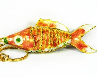 "3.2"" Long Chinese Purple Red Cloisonne Copper Brass Enamel Articulated Carp Koi Fish Figurine Pendant,Make Jewelry home Ornament Decoration"
