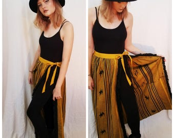 90s Yellow Black Maxi Skirt. Handmade Textile Guatamalan Skirt. Tribal Skirt. Size Medium