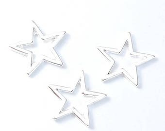 30 silver hollow star connectors