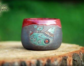 Raku ceramic mug with Birds, 350 ml/12 Oz, pottery teacup, clay mug, raku mug, unique gift, warming gift, handmade tea cup, gift for her