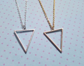 Triangle necklace, Triangle pendant, Geometric necklace, Geometric triangle, Simple necklace, Triangle, Triangle outline