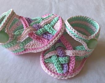 Crochet pattern. Color Baby Sandals. INSTANT DOWNLOAD
