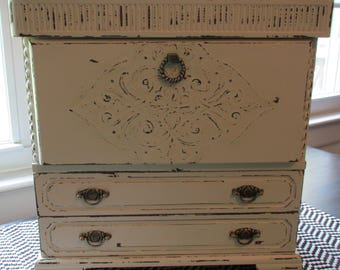 Vintage Secretary Desk Jewelry Box Armoire Cream Distressed Shabby ChicFrench Country Houndstooth