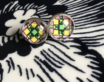 Handmade stained glass cabochon earrings- 12mm