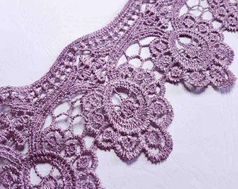 x1m lace trim guipure style purple baroque stitch venis width 8cm
