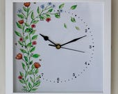 Image of NEW 25cm Floral Wall Clock Roses Flowers Modern Country Style Watercolour Painting