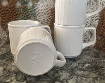 Set of 4 Vintage Mugs- off white