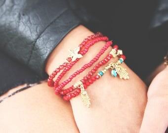 Beaded Charm Bracelet Set