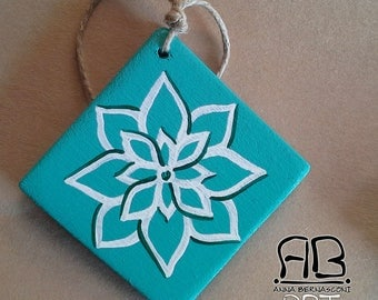 """Christmas decoration """"snow flowers"""" in painted wood (var. turquoise)"""