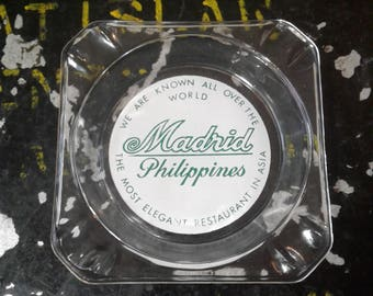 Vintage MADRID RESTAURANT ASHTRAY, From The Philippines, The Most Elegant Restaurant In Asia