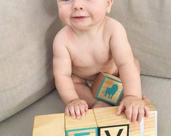 Wooden Letter Blocks (Raw Framed)